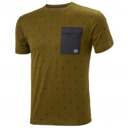 Lommat-shirt fir green print